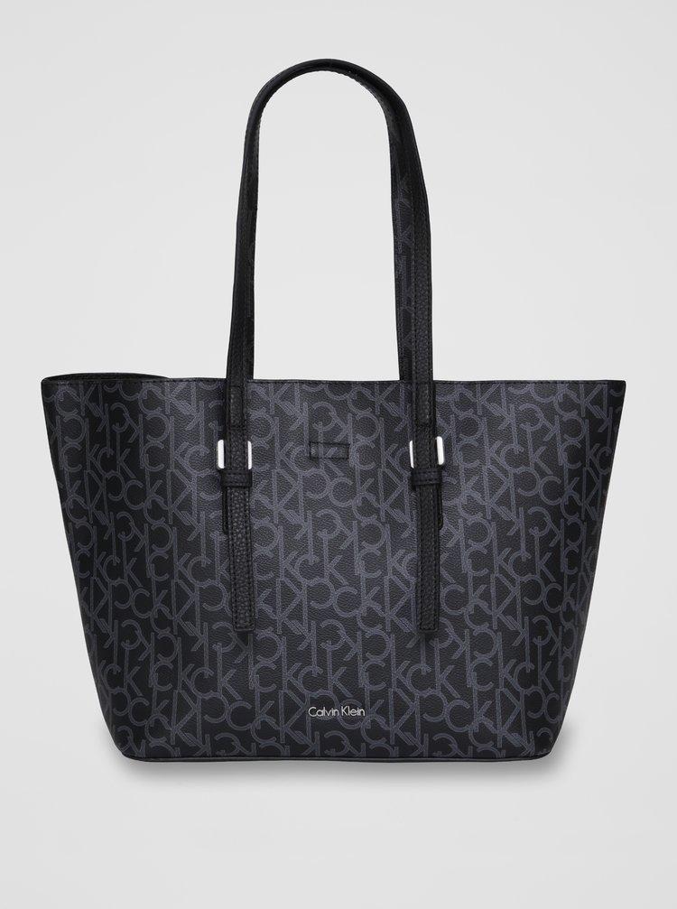 Černý vzorovaný shopper  s pouzdrem 2v1 Calvin Klein Jeans Monogram