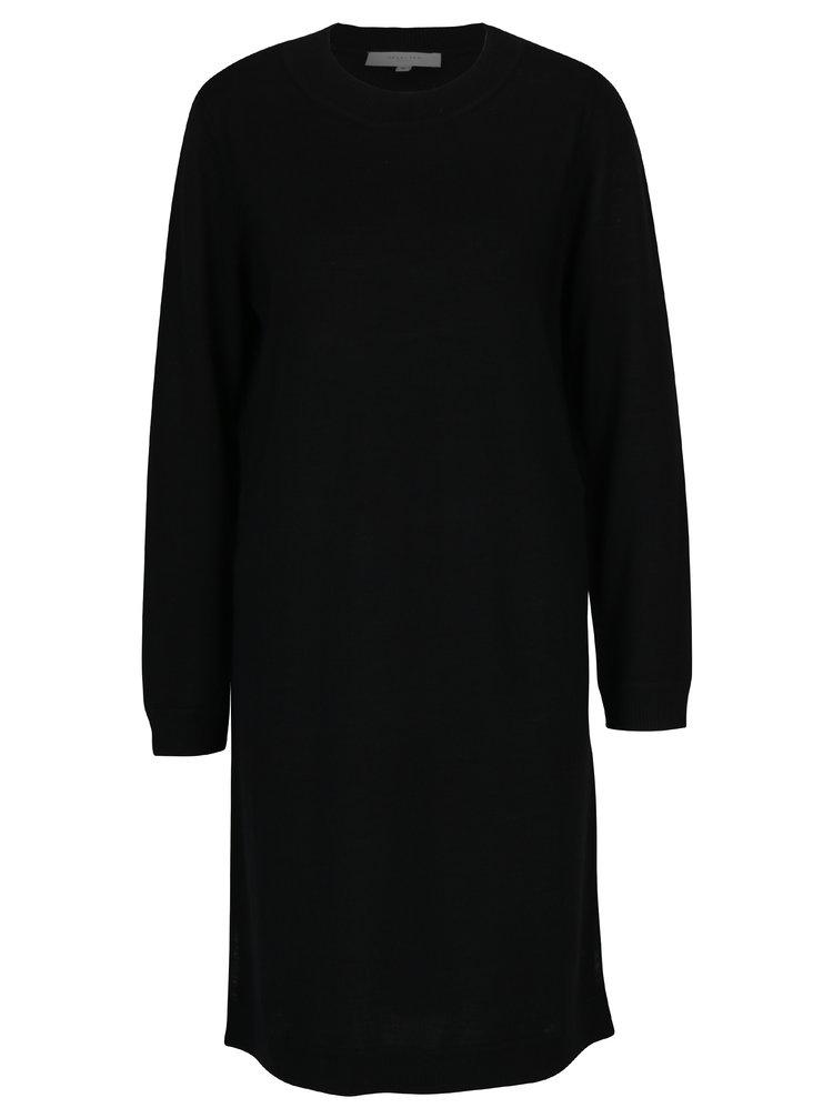 Černé svetrové vlněné šaty Selected Femme Eileen