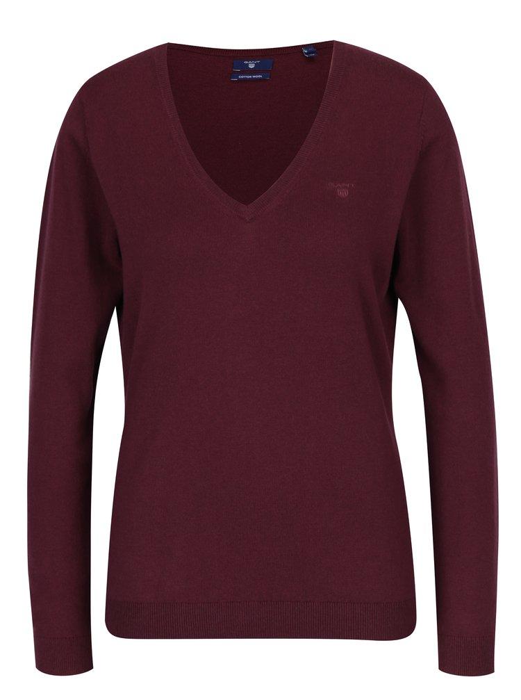 Vínový dámský svetr s příměsí vlny GANT