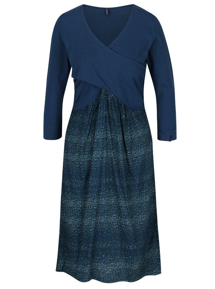 Petrolejové šaty s překládaným výstřihem a puntíky Tranquillo Bernarda