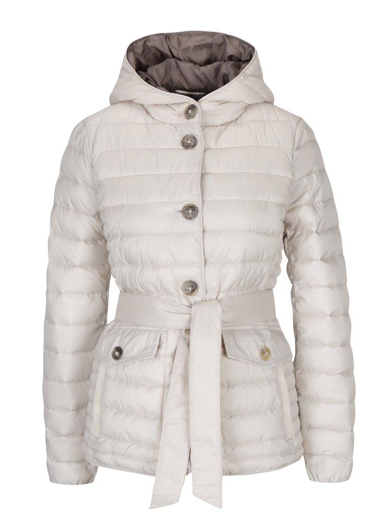 Krémová dámská prošívaná bunda s kapucí Geox