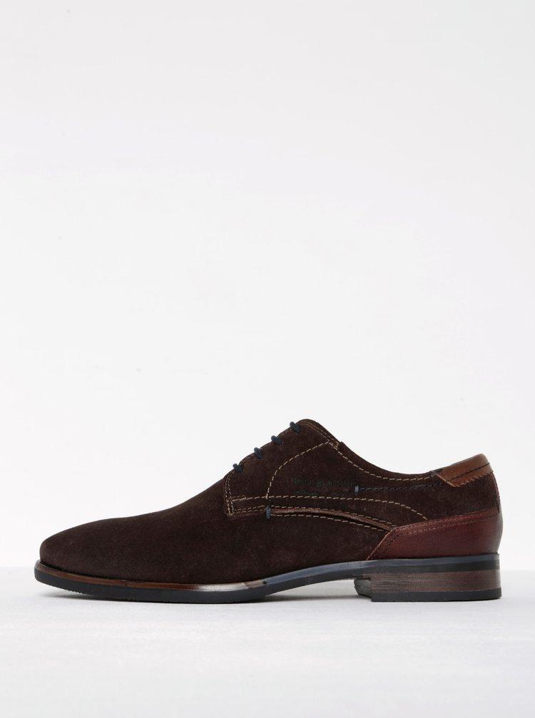 Pantofi maron din piele intoarsa bugatti Levio