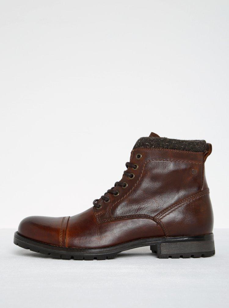 Tmavě hnědé kožené kotníkové boty Jack & Jones Marly
