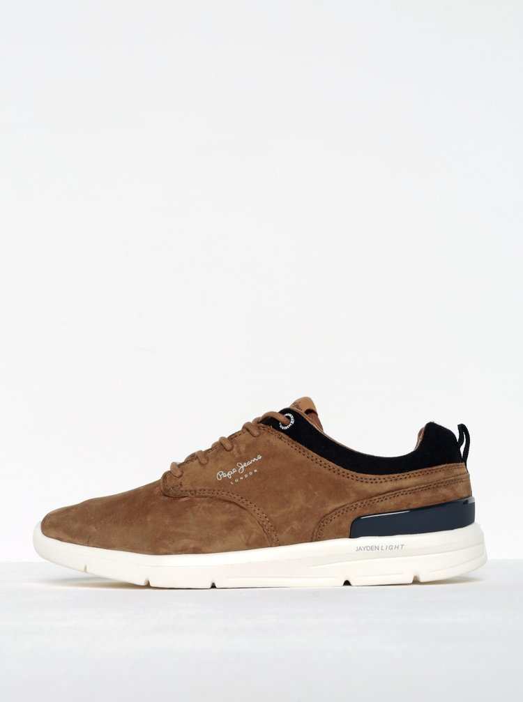 Pantofi sport maro din piele întoarsă Pepe Jeans Jayden