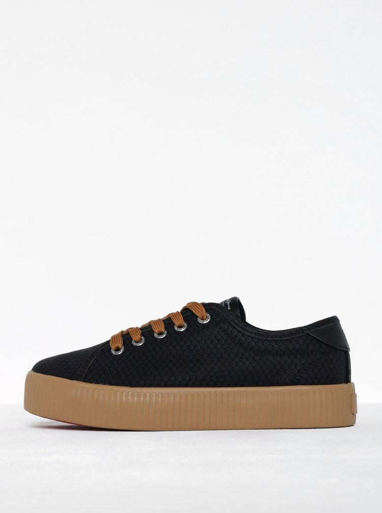 Černé dámské tenisky se strukturovaným vzorem Pepe Jeans Hannah Boa