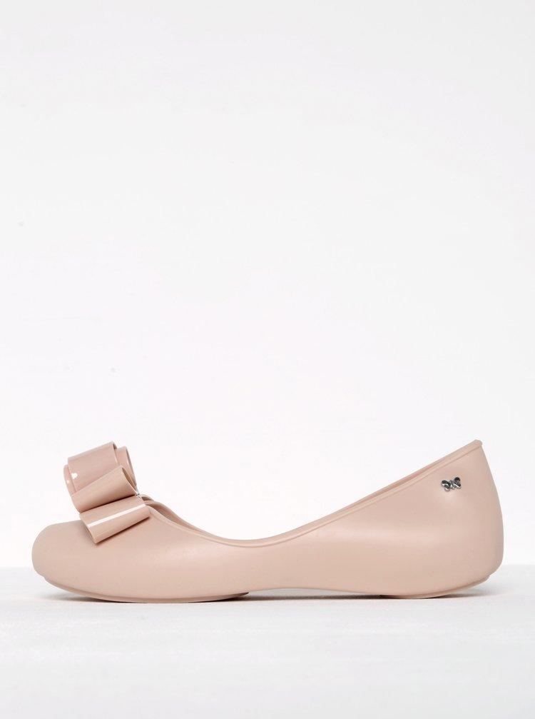 Světle růžové baleríny s mašlí a otevřenou špičkou Zaxy Glam