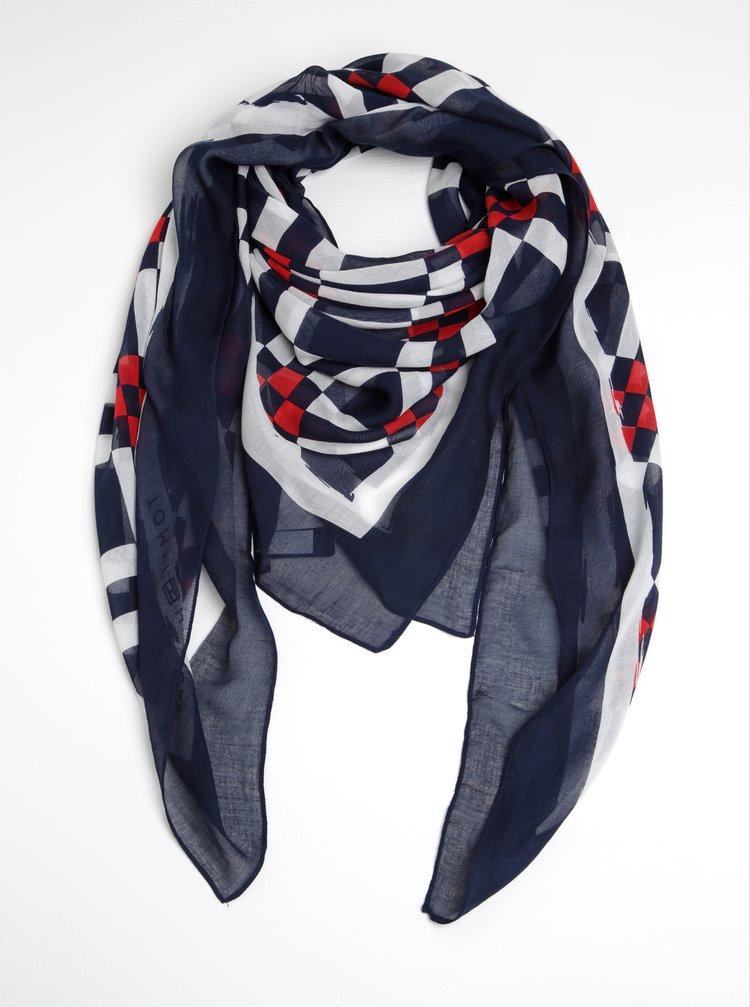 Krémovo-modrý dámský šátek Tommy Hilfiger Geo