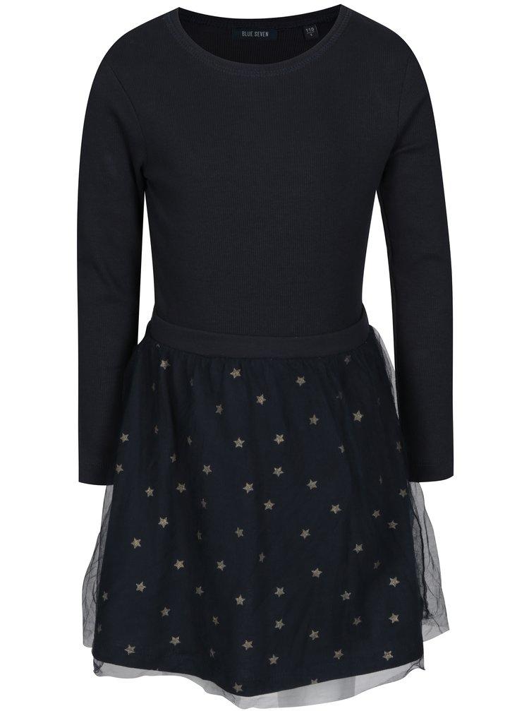 Tmavě modré holčičí šaty s tylovou sukní s motivem hvězd Blue Seven