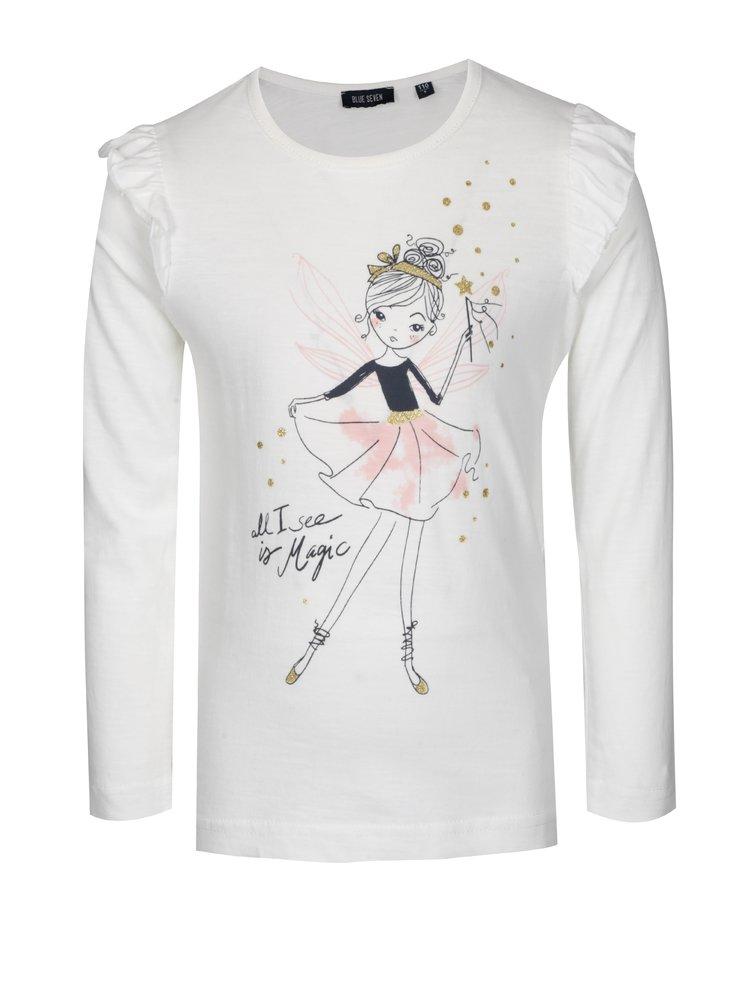 Krémové holčičí tričko s volánky a potiskem Blue Seven