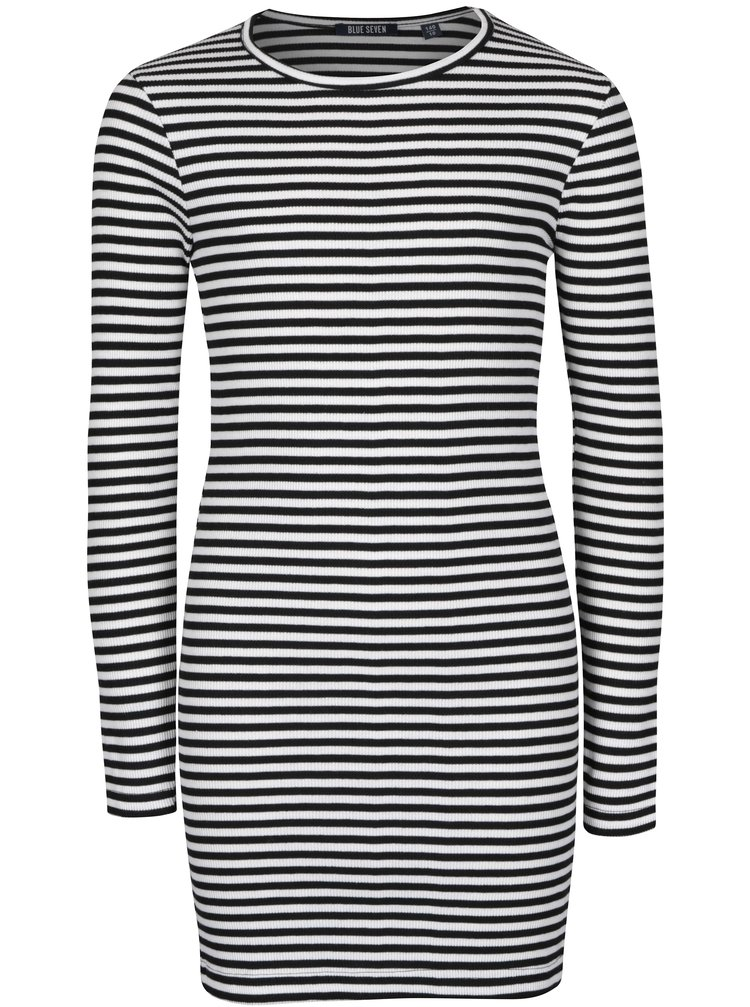 Bílo-černé holčičí pruhované šaty Blue Seven