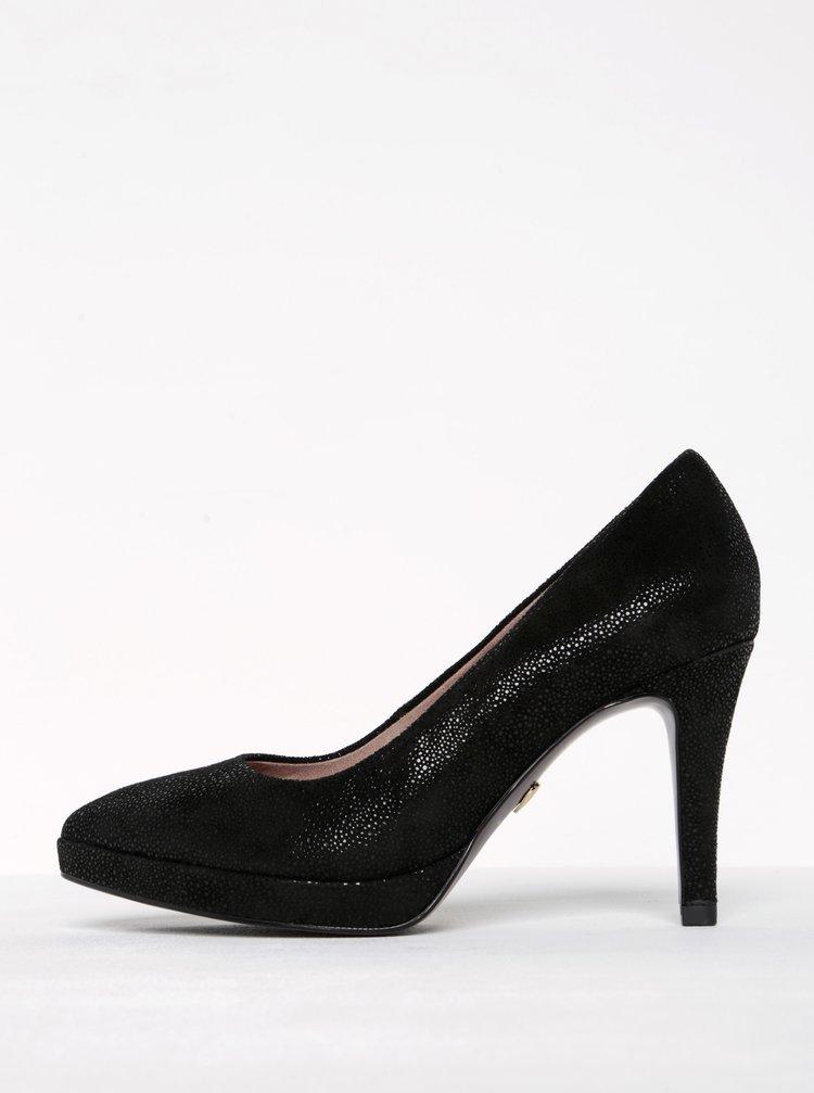 Pantofi negri din piele intoarsa cu toc cui - Tamaris
