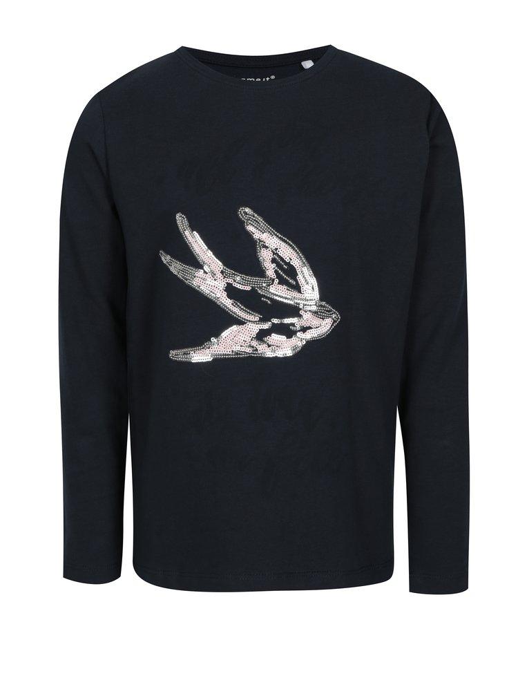 Tmavě modré holčičí tričko s motivem vlaštovky name it Kannas