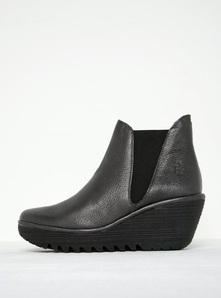 Tmavě šedé dámské kožené kotníkové boty na platformě FLY London