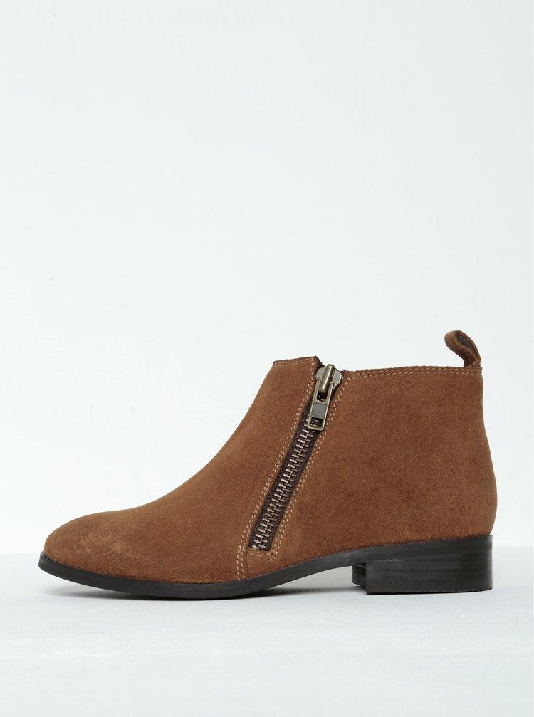 Hnědé semišové kotníkové boty Miss KG Spitfire