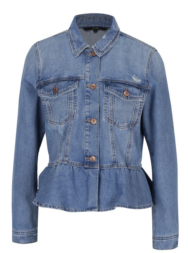 Jacheta albastra peplum din denim VERO MODA Merny