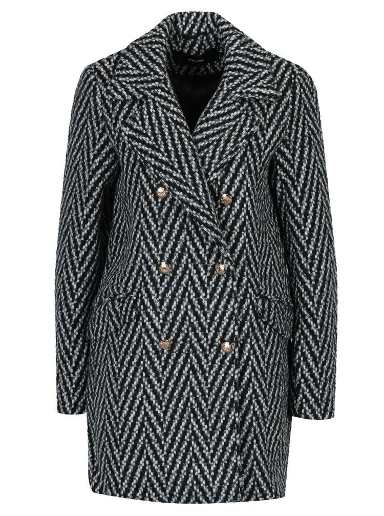 Černo-zelený vzorovaný kabát VERO MODA Paris