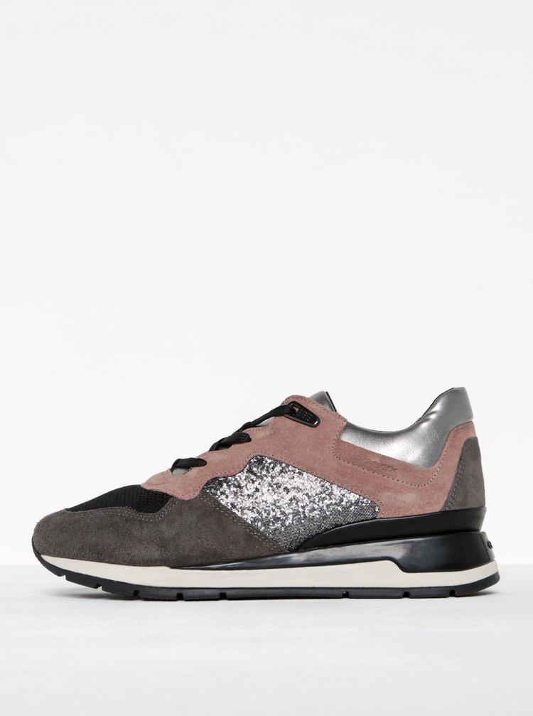 Pantofi sport gri cu roz pentru femei - Geox Shahira