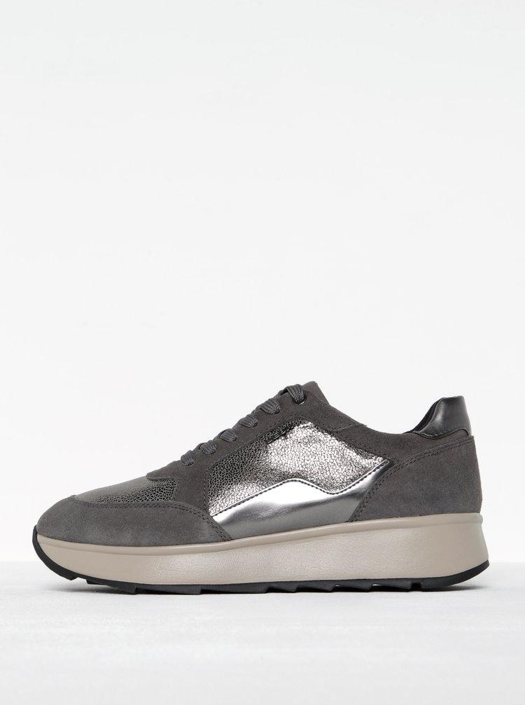 Pantofi sport gri cu platformă pentru femei - Geox Gendry