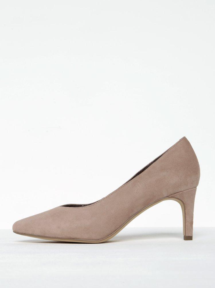 Pantofi nude din piele intoarsa cu toc cui si varf ascutit Tamaris