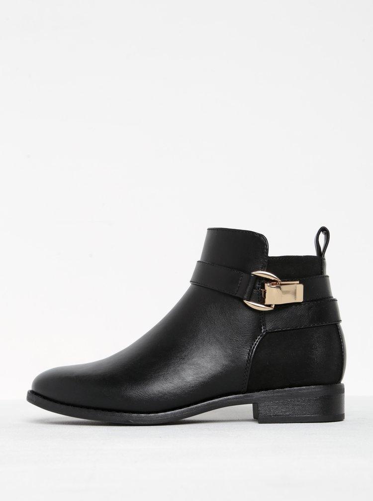 Černé kotníkové boty s přezkou ONLY Bobby Buckle