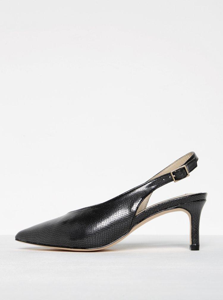 Sandale negre cu aspect piele de sarpe si toc - Miss Selfridge