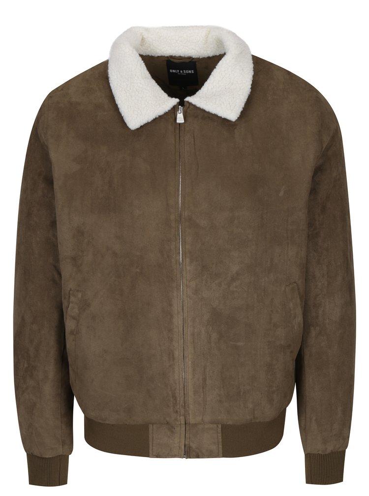 Jacheta kaki cu guler din blana artificiala - ONLY & SONS Preston