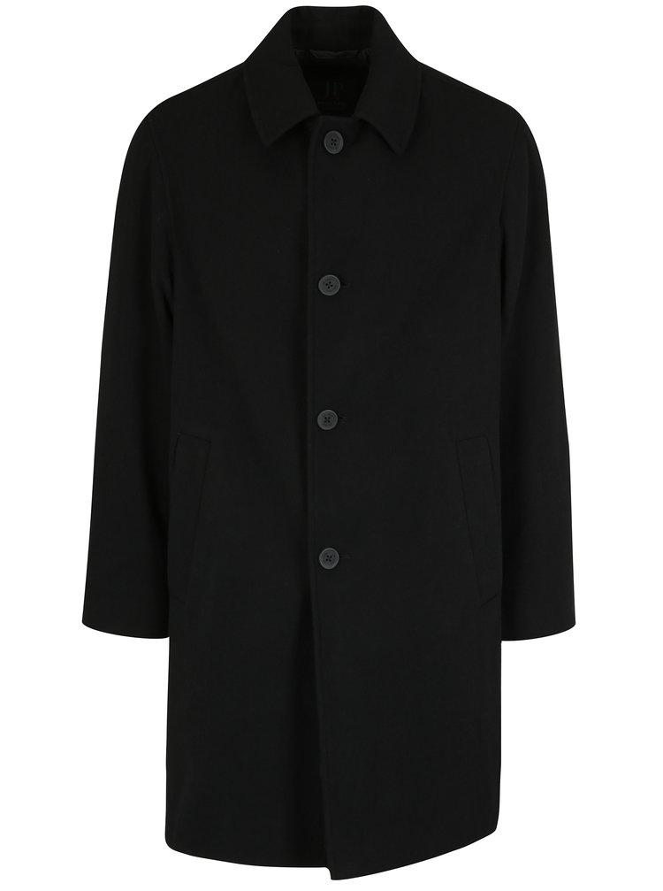 Černý vlněný kabát s kapsami JP 1880