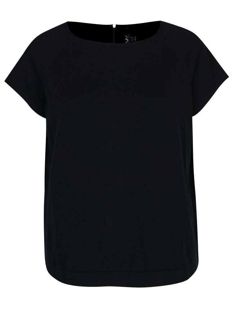 Černý svetr s krátkým rukávem a zipem na zádech Ulla Popken