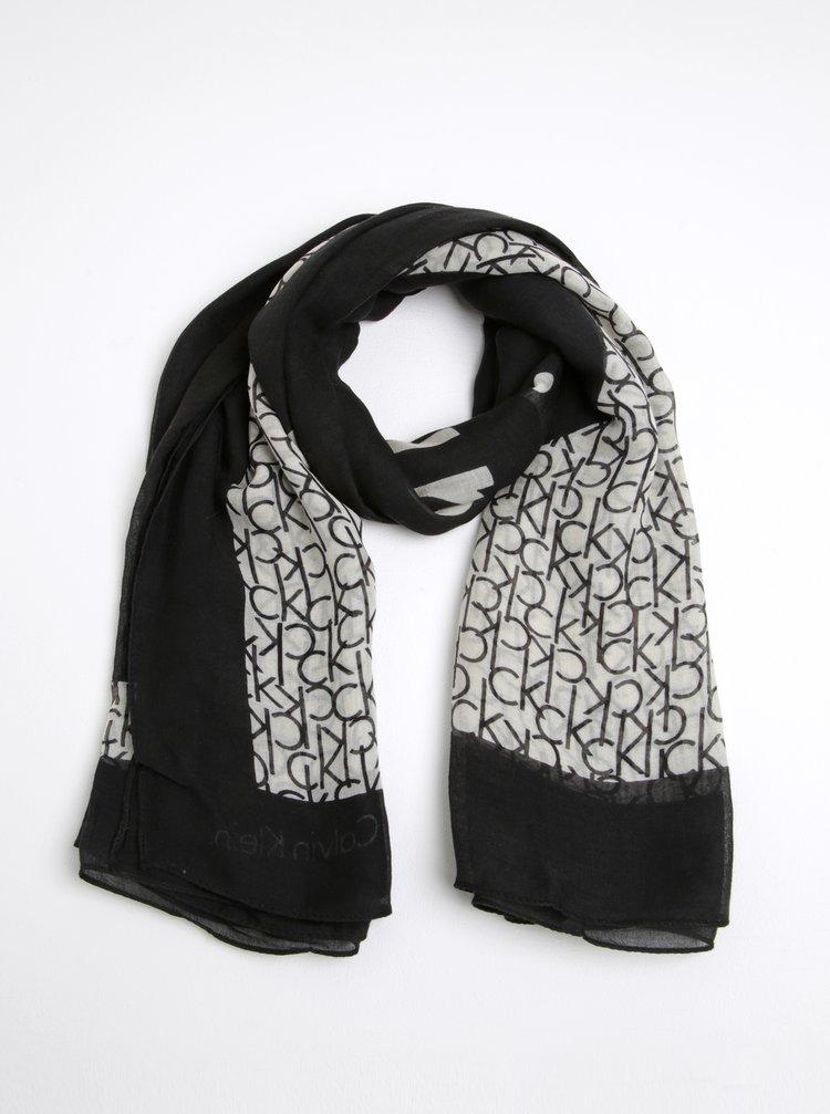 Krémovo-černý dámský vzorovaný šátek Calvin Klein Jeans Joyce