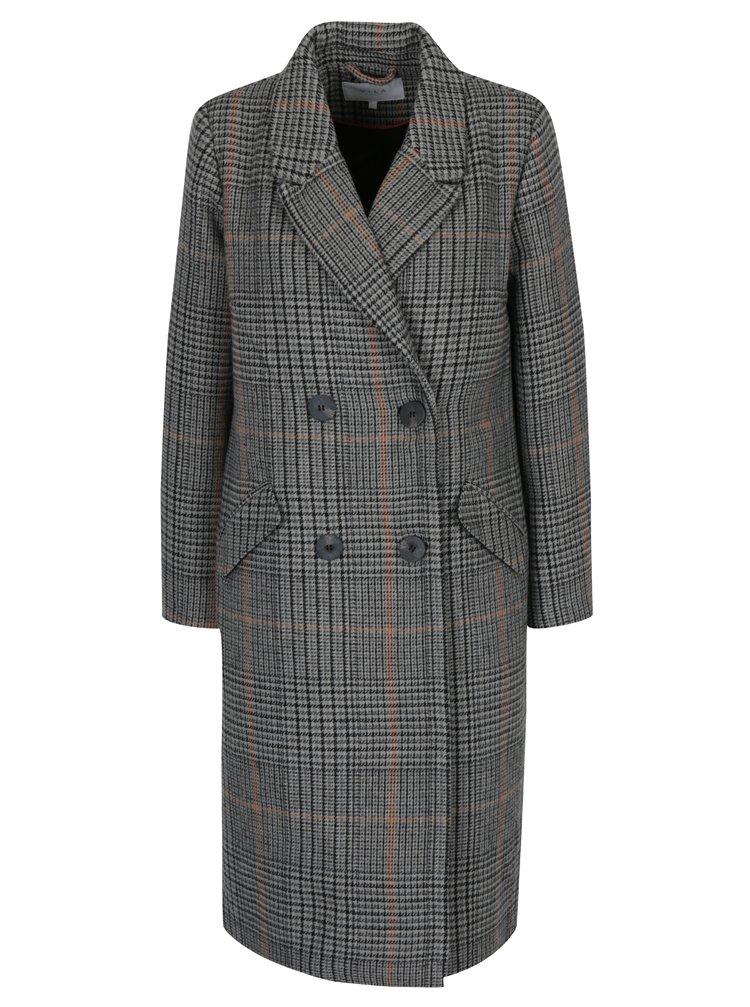 Sivý vzorovaný kabát s prímesou vlny VILA Ikely