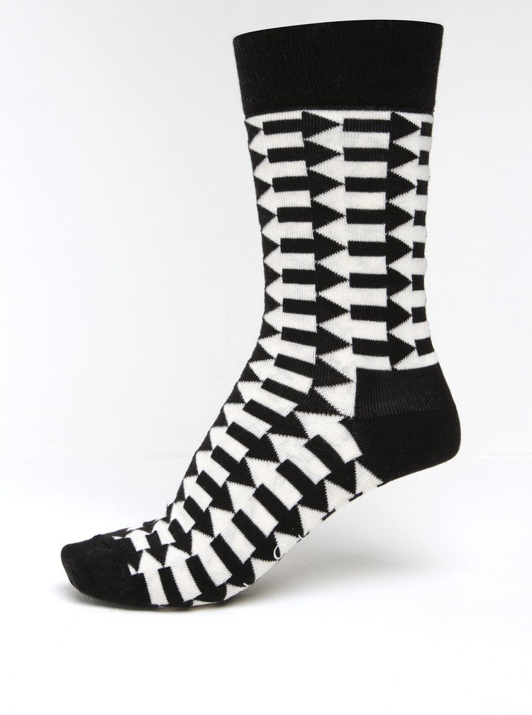 Șosete negru & crem cu model geometric pentru femei - Happy Socks Direction