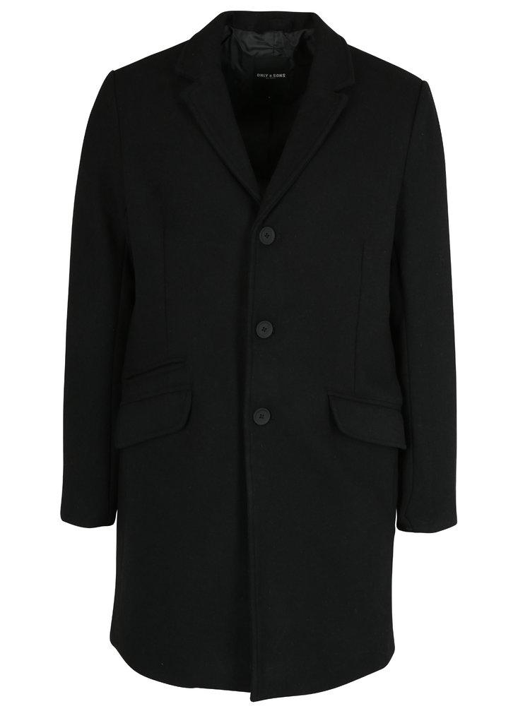 Palton bărbătesc negru din amestec de lână - ONLY & SONS Julian