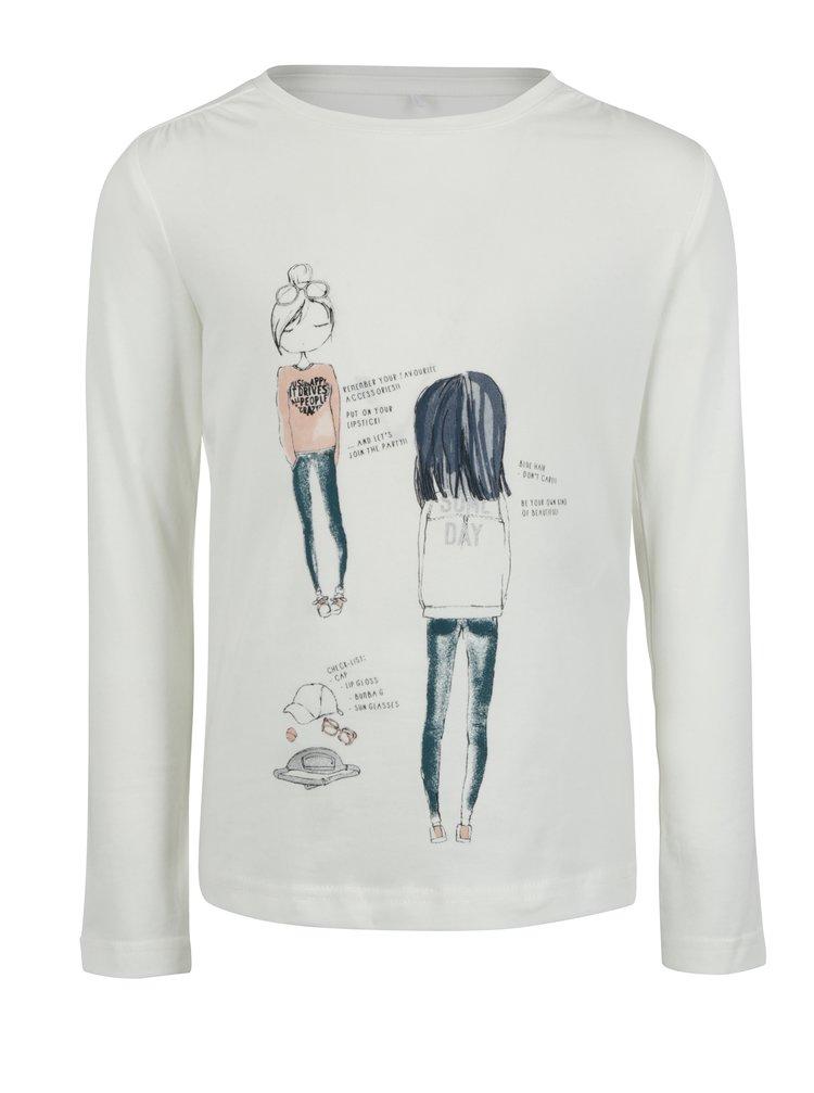Krémové holčičí tričko s dlouhým rukávem Name it Jamin