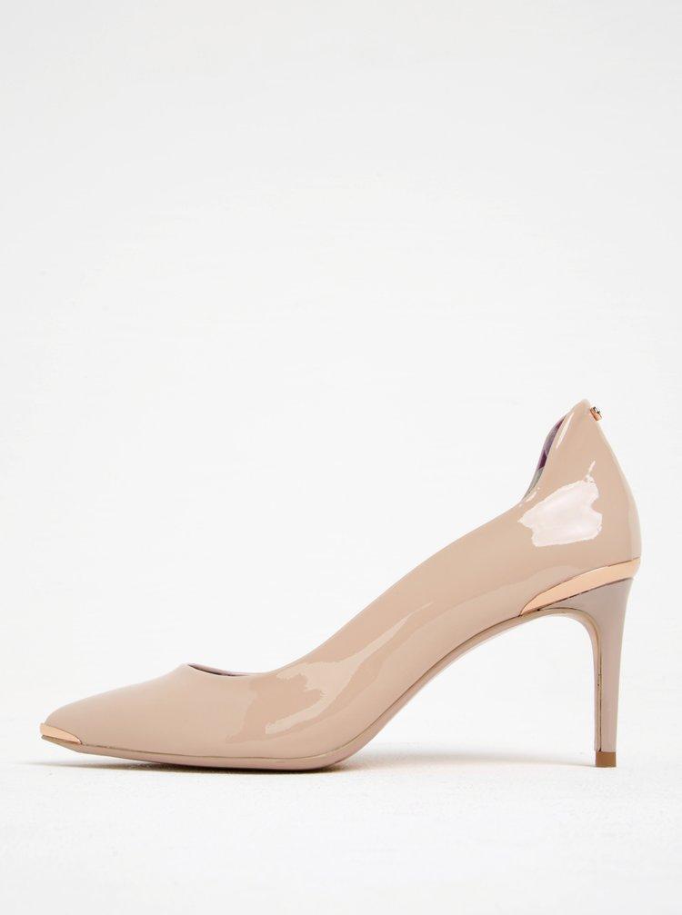 Pantofi roz deschis din piele lacuita cu toc cui-Ted Baker Vyixin