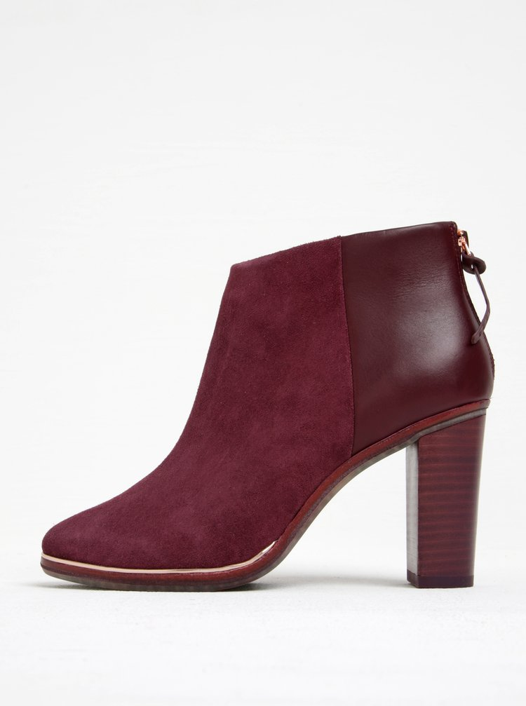Vínové semišové kotníkové boty na podpatku Ted Baker Azaila