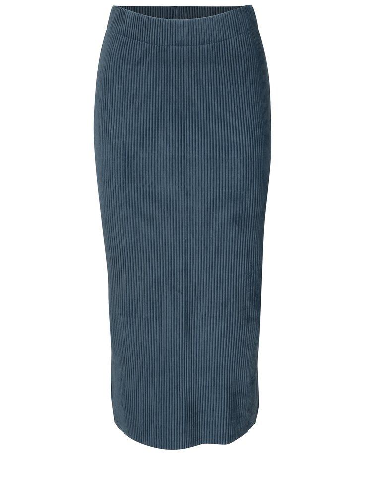 Modrá žebrovaná sametová sukně Selected Femme Velva