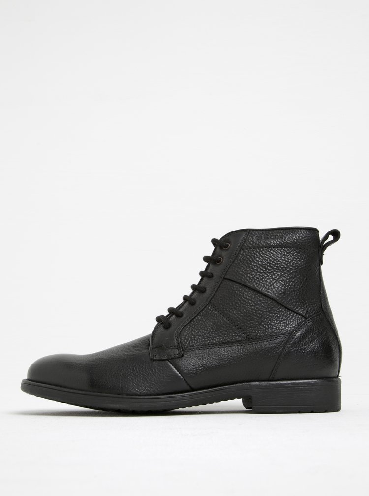 Černé pánské kožené kotníkové boty Geox Jaylon C