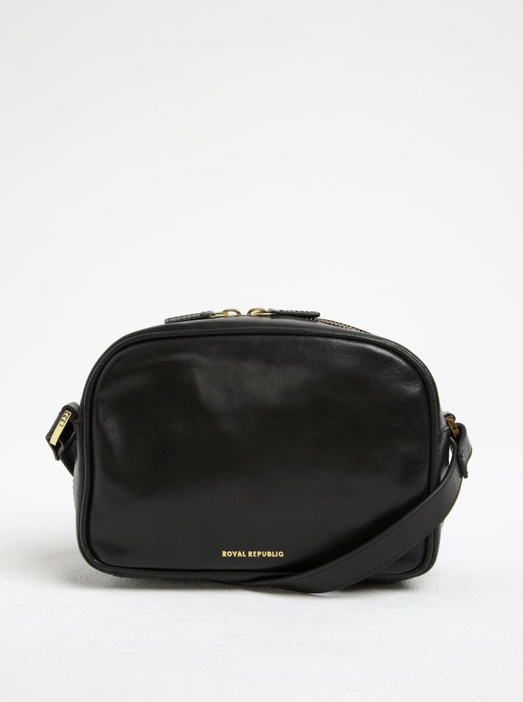 Černá kožená crossbody kabelka s detaily ve zlaté barvě Royal RepubliQ