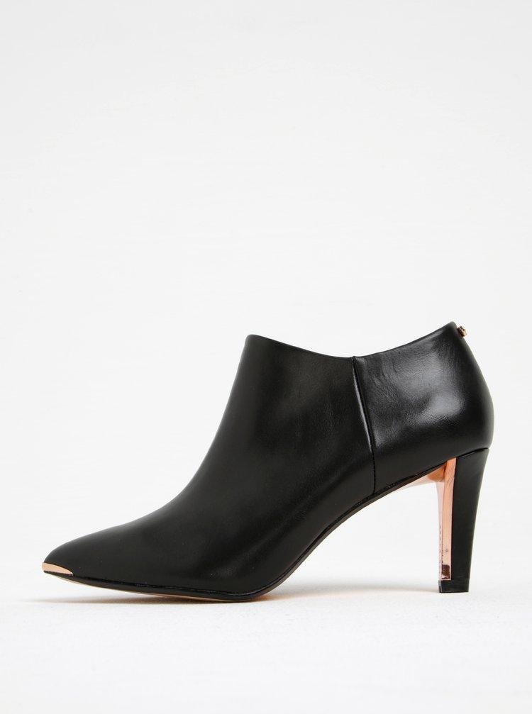 Černé kožené boty na podpatku Ted Baker Nyiri