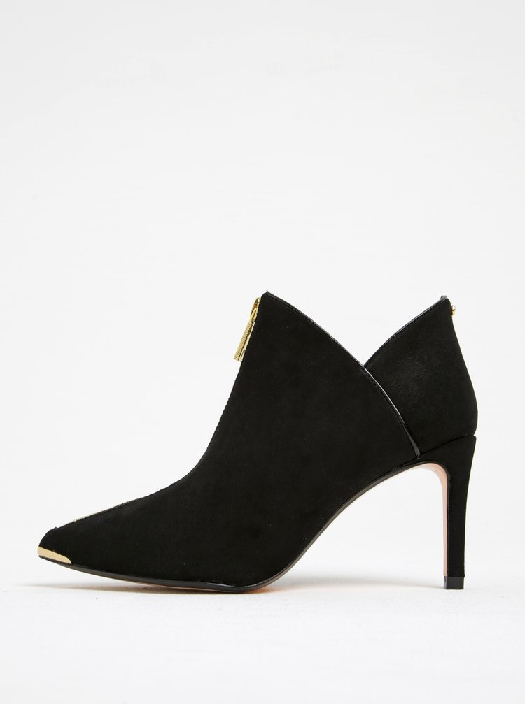 Černé semišové boty se zipem na podpatku Ted Baker Millae