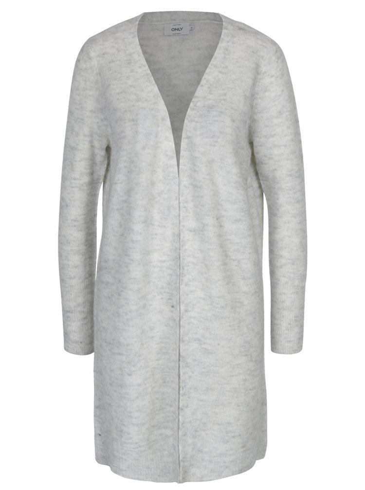 Světle šedý žíhaný dlouhý svetr s příměsí mohéru ONLY Meredith