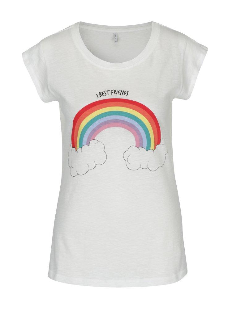 Krémové tričko s krátkým rukávem a potiskem ONLY Bone Best Friends