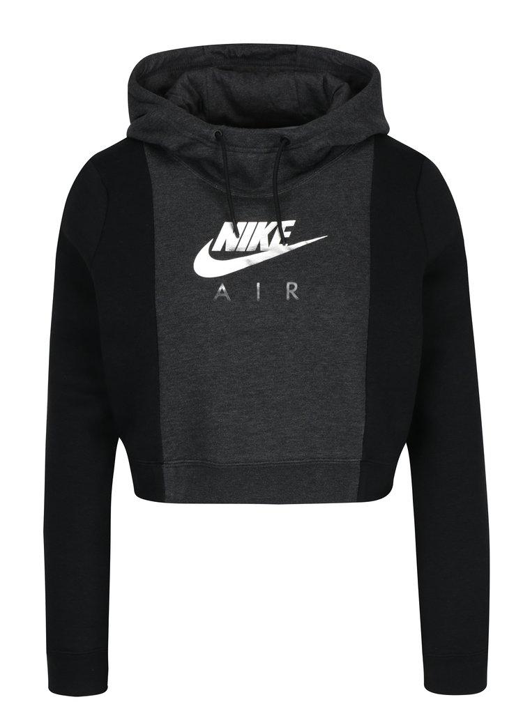 Černo-šedá dámská crop mikina s potiskem Nike Sportswear Rally