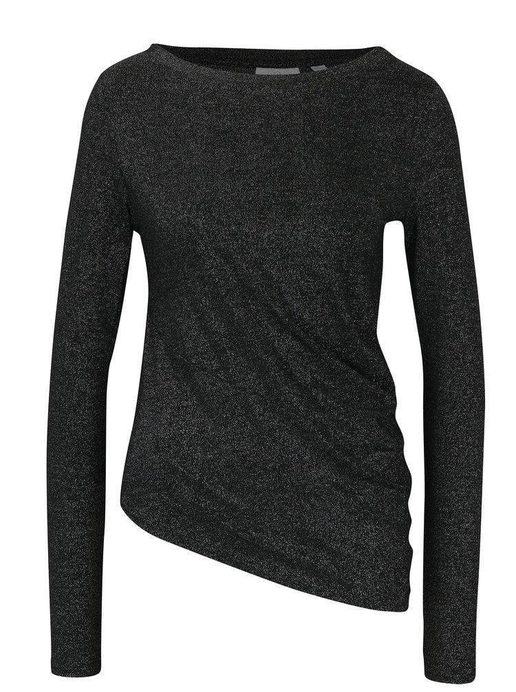 Bluză neagră asimetrică cu aspect strălucitor - Cheap Monday