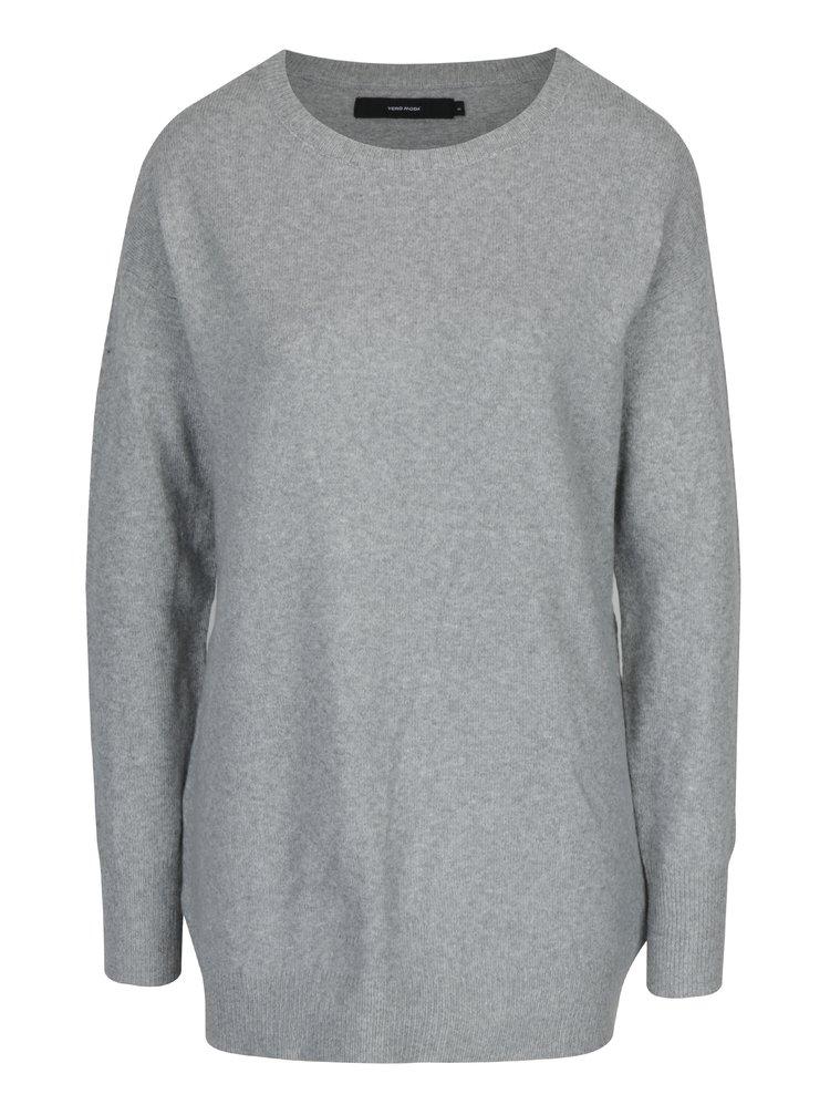 Svetlosivý melírovaný oversize sveter s prímesou vlny z alpaky VERO MODA Colma