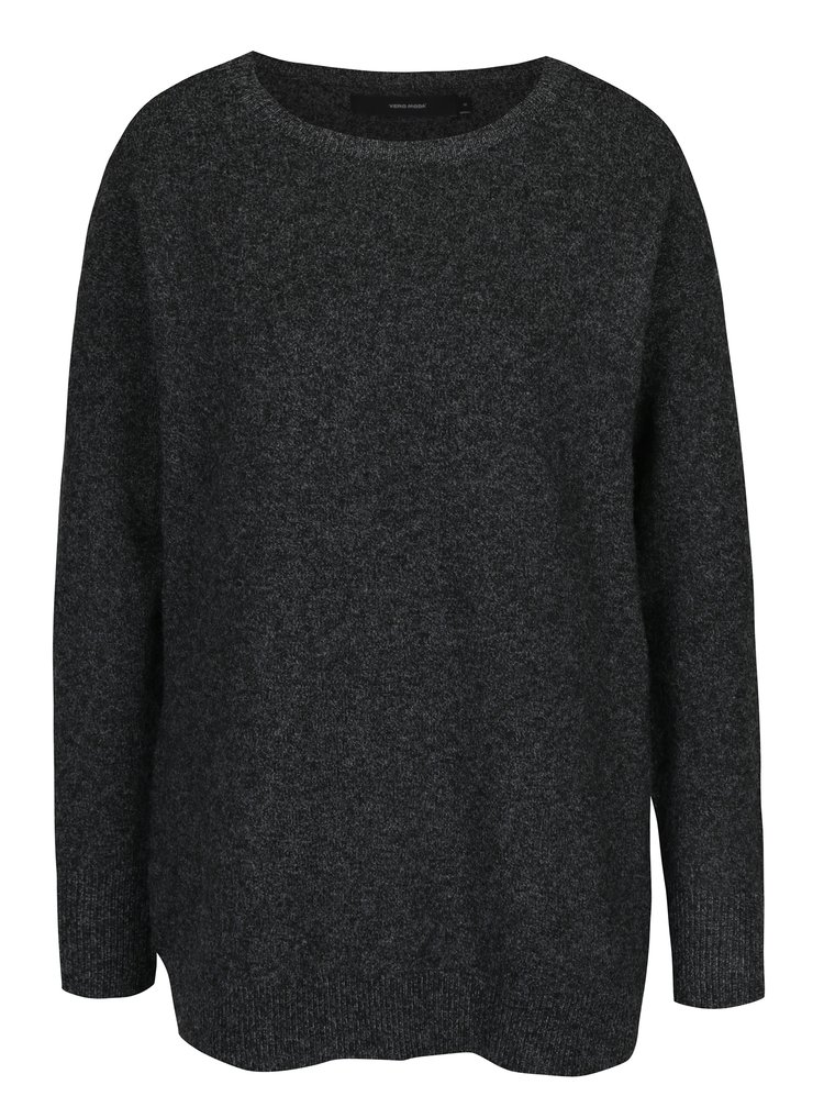Tmavě šedý žíhaný oversize svetr s příměsí vlny z alpaky VERO MODA Colma