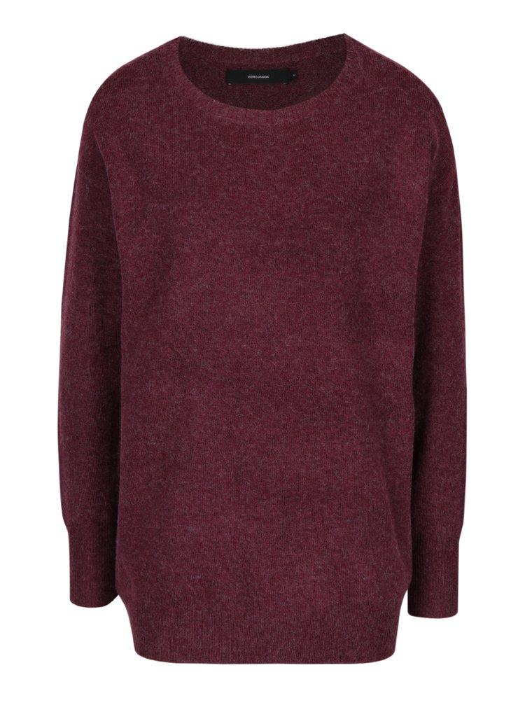 Vínový melírovaný oversize sveter s prímesou vlny z alpaky VERO MODA Colma
