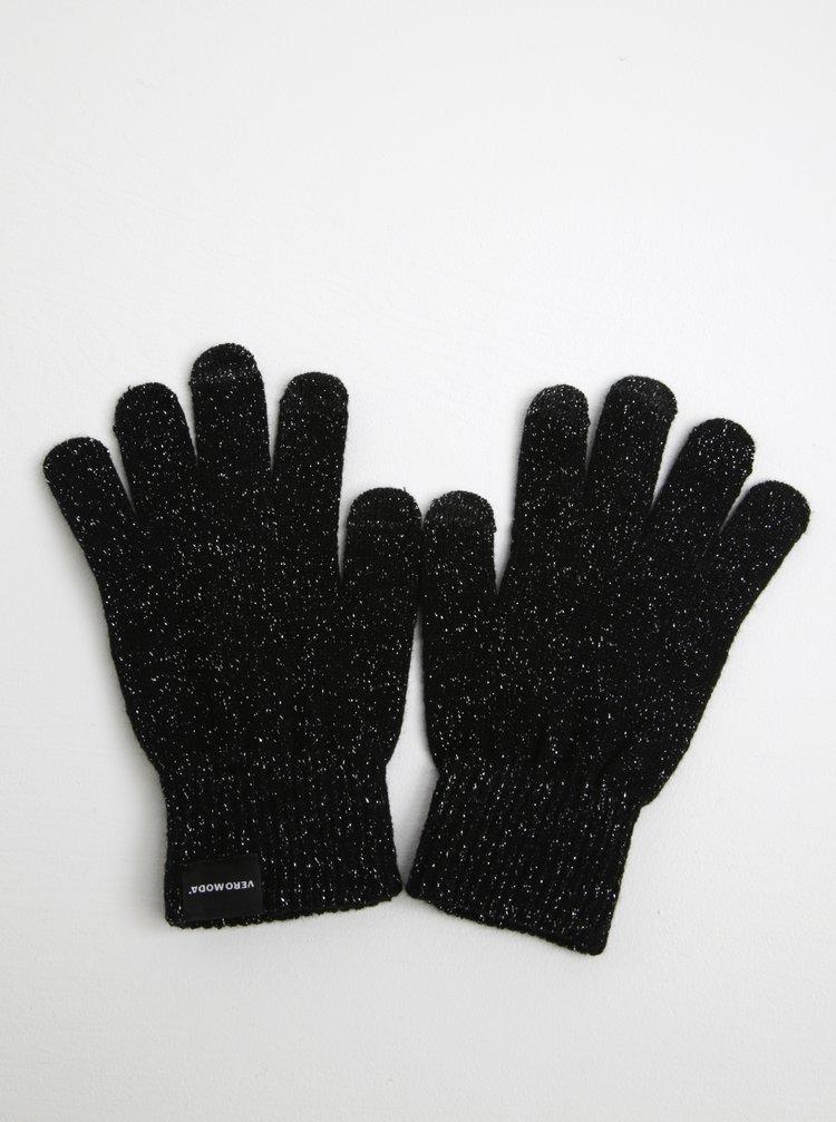 Mănuși negre cu argintiu pentru iarnă pentru femei VERO MODA Vilde