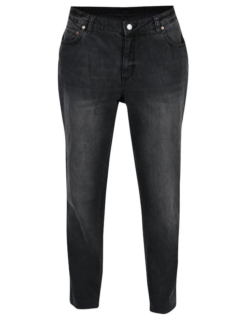 Tmavě šedé dámské boyfriend džíny s vyšisovaným efektem Cheap Monday