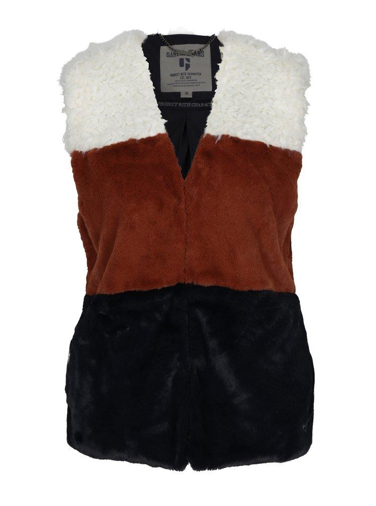 Krémovo-hnědá dámská vesta z umělé kožešiny Garcia Jeans